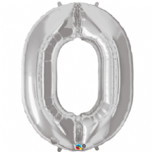 "Silver Number 0 Balloon - Foil Number Balloon 1pc (34"" Qualatex)"